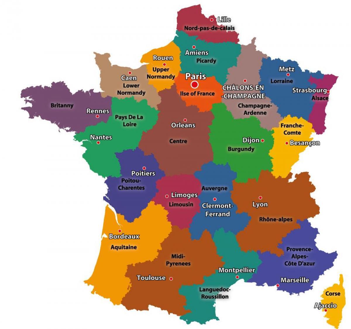 Karta Francuskoj Pokazuje Pariz Karta Francuske I Pariza Ile De